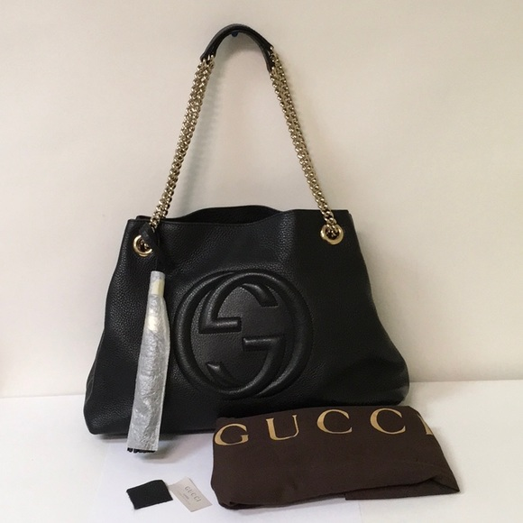c784b77d885a Gucci Handbags - Gucci Soho Interlocking G Black Leather Bag